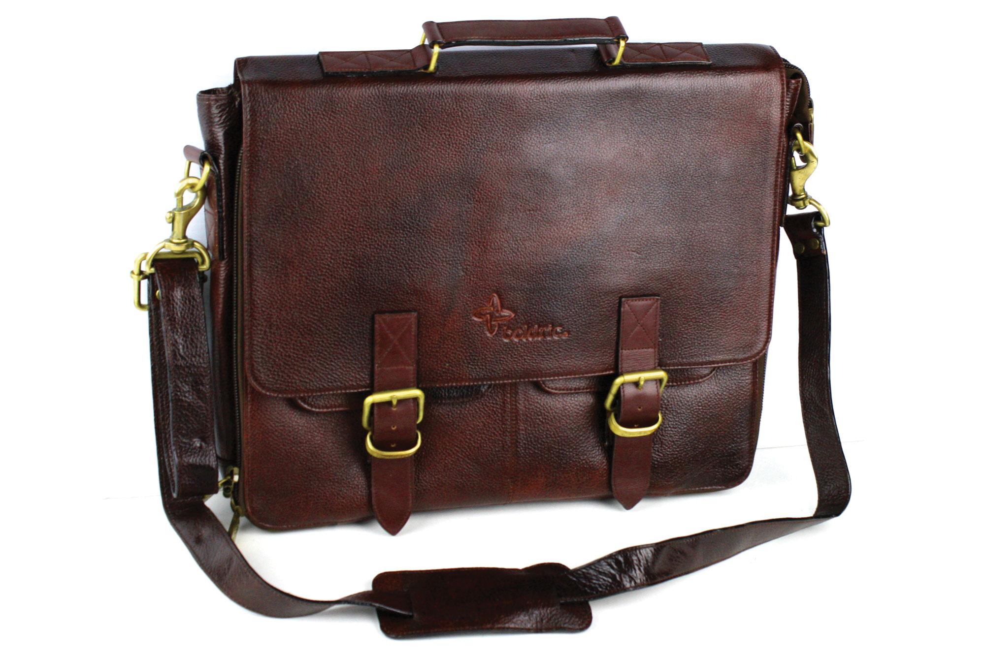Boldric Leather Messenger Knife Bag 10 Pocket Brown