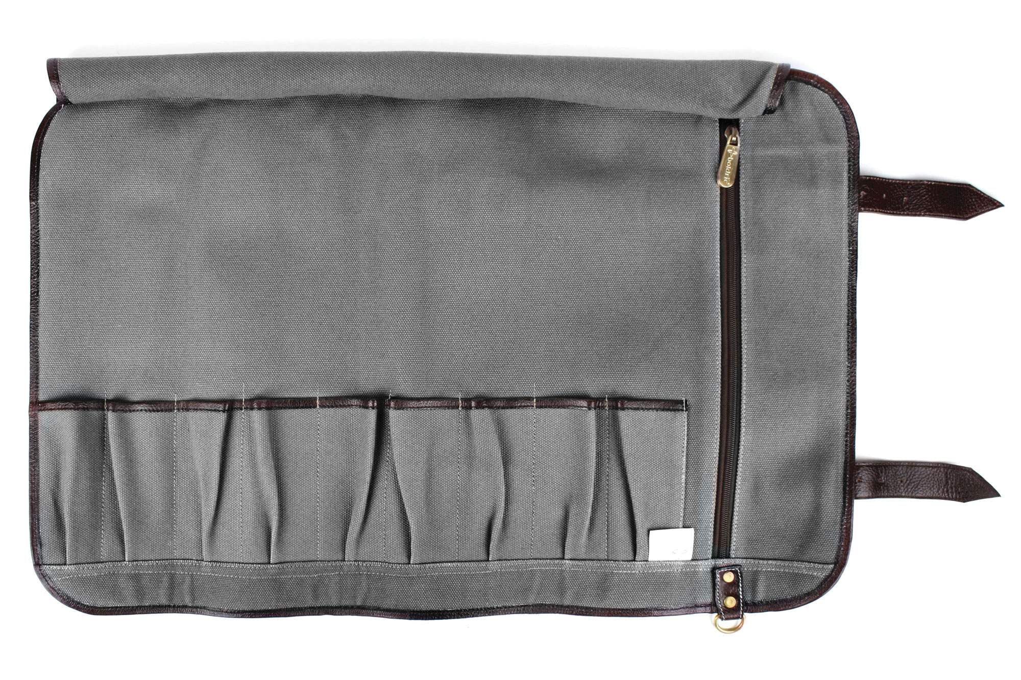 Boldric Canvas Knife Roll 9 Pocket Gray Cutlery And More