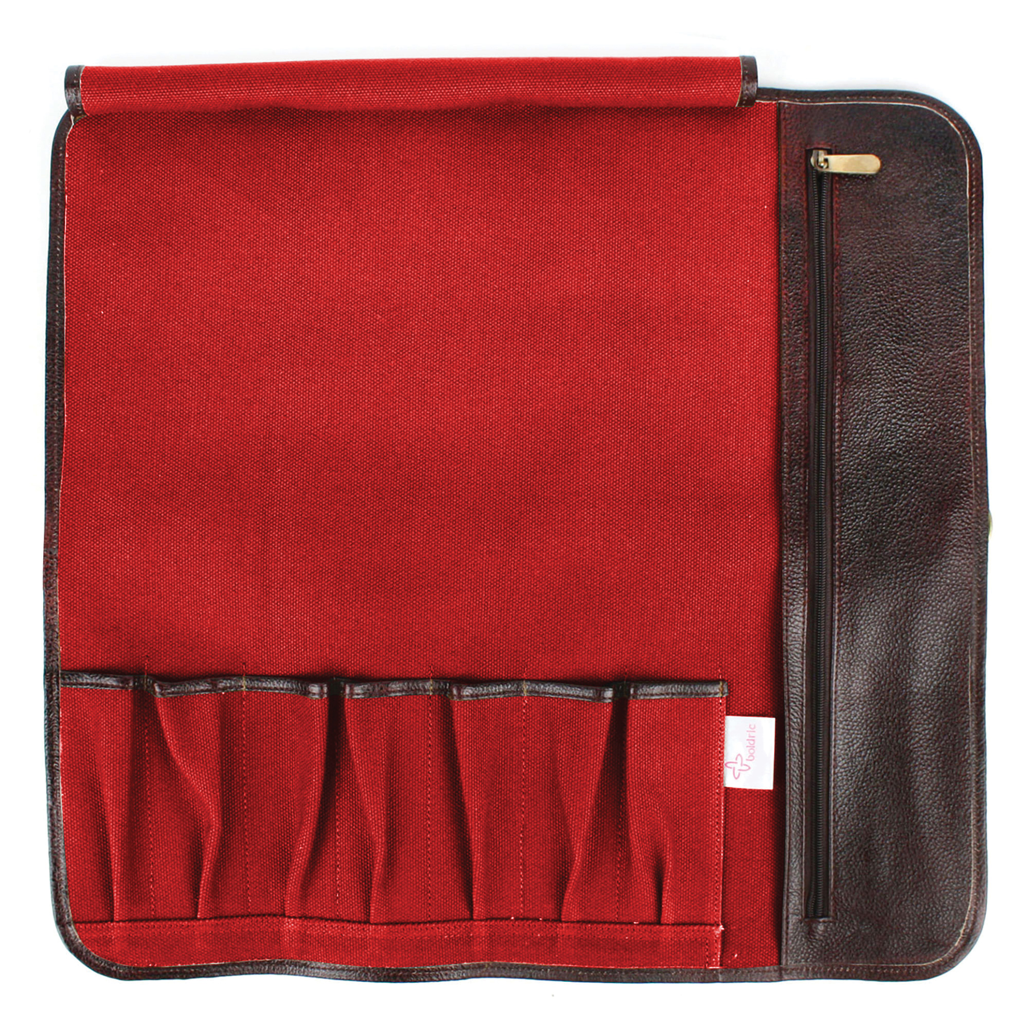 Boldric Canvas Hook Tie Knife Roll 7 Pocket Red