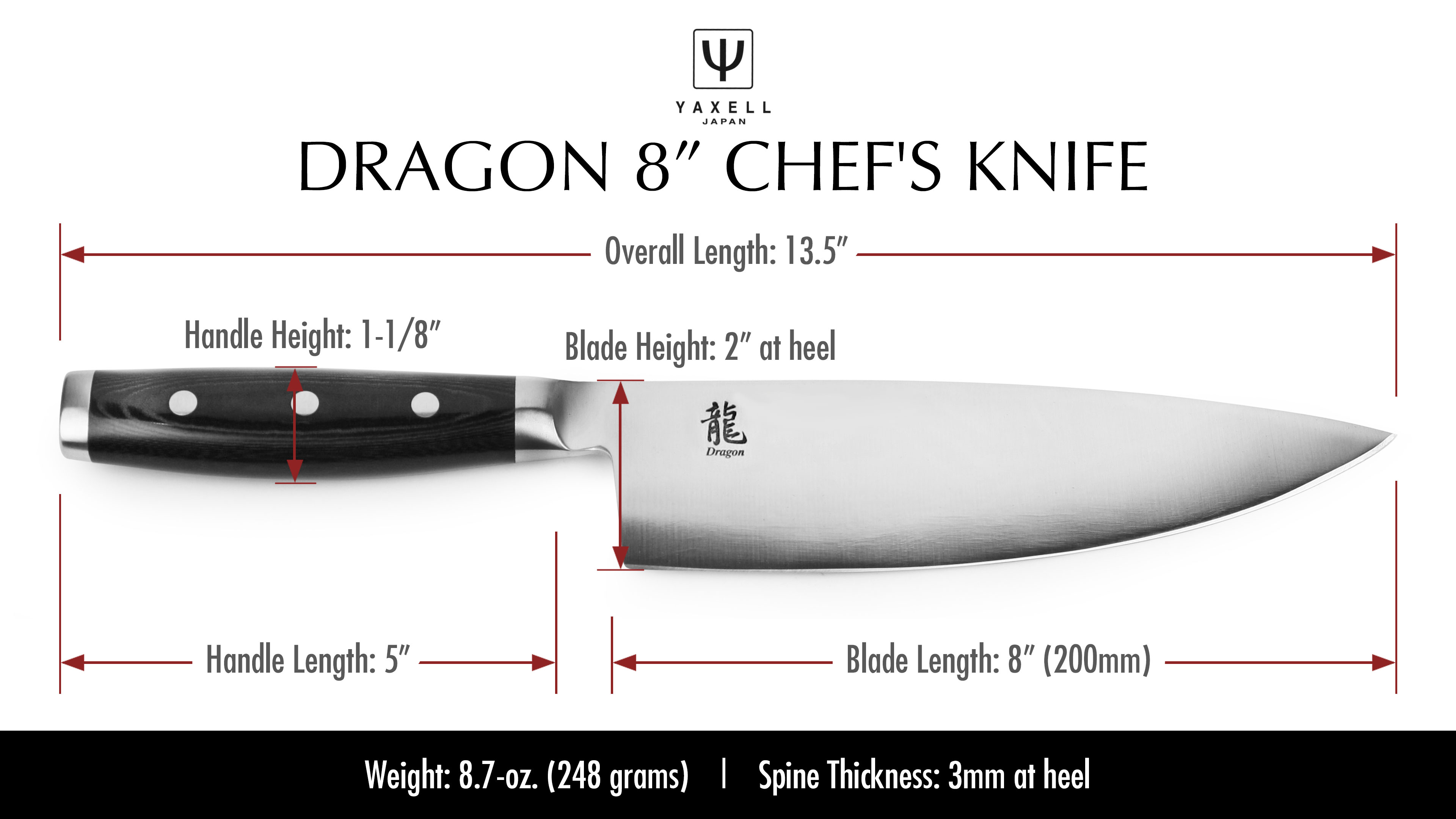 Yaxell Dragon Chef S Knife 8 Quot Cutlery And More
