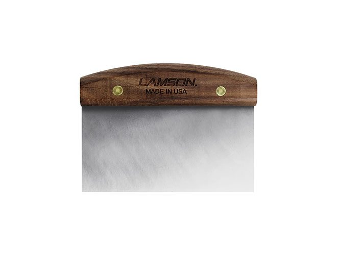 "Lamson 3x6"" Stainless Steel Dough Scraper with Walnut Handle"