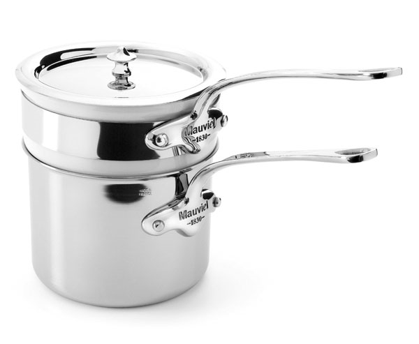 Mauviel M'cook Stainless Steel 1.6-quart Saucepan with Porcelain Double Boiler