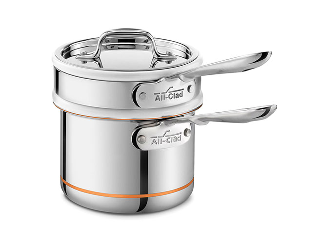 All-Clad Copper Core 2-quart Ceramic Double Boiler & Saucepan Set