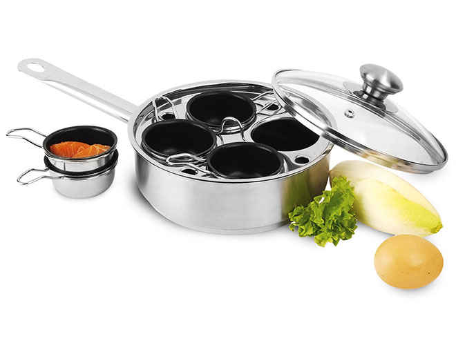 Demeyere Resto 4 Cup Stainless Steel Egg Poacher & Skillet