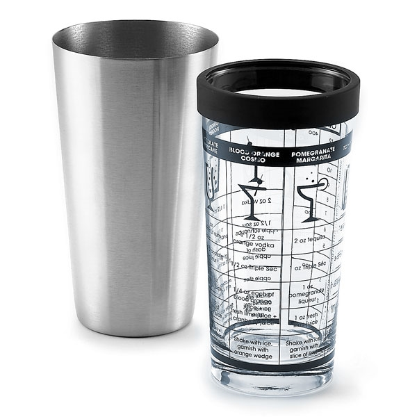 Outset Glass Amp Stainless Steel Boston Shaker With Recipes