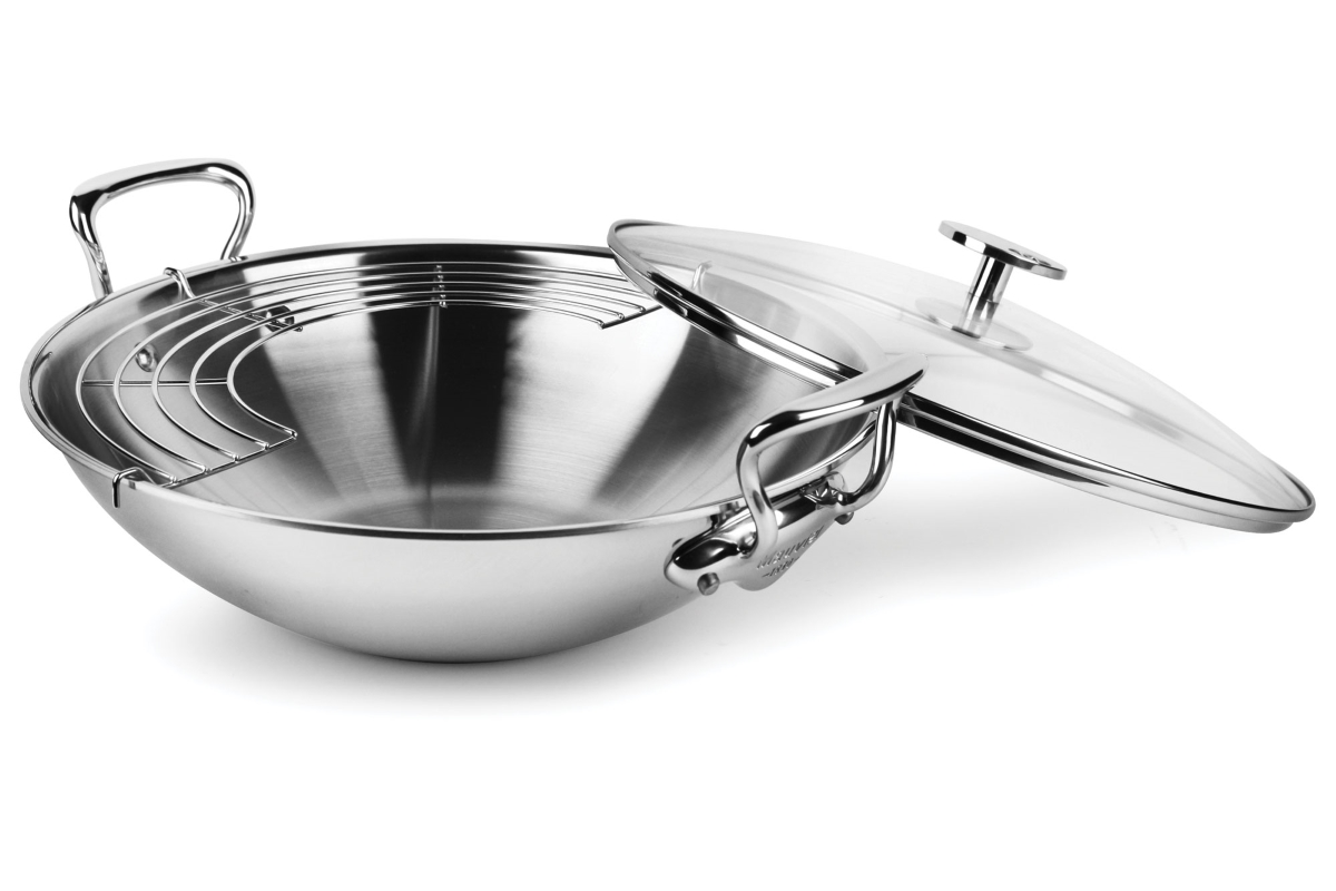"Mauviel M'cook Stainless Steel 12.6"" Wok with Lid & Rack"