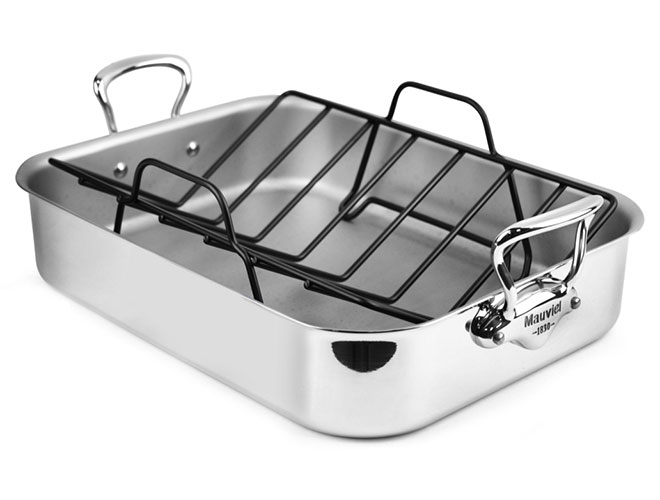 "Mauviel M'cook Stainless Steel 16x12"" Roasting Pan with Rack"