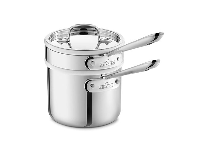 All-Clad d3 Stainless 2-quart Saucepan with Porcelain Double Boiler Insert