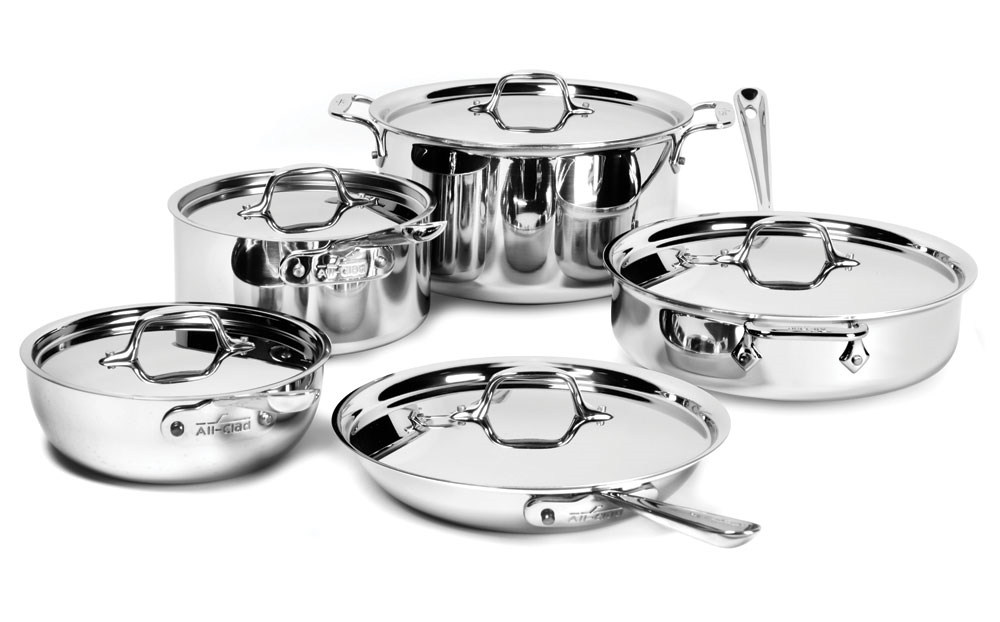 All Clad D3 Stainless Cookware Set 10 Piece Cutlery And
