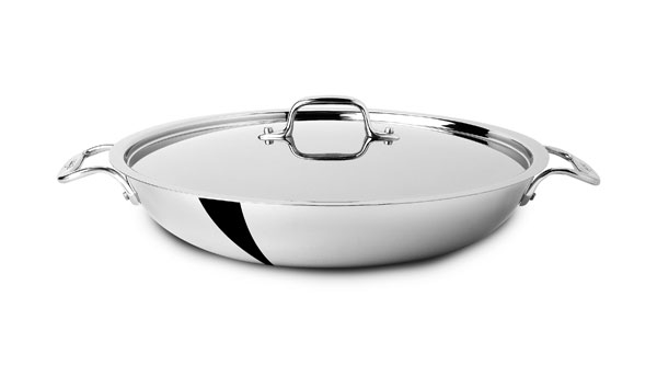 All Clad D3 Stainless Paella Pan With Lid 13 Quot Cutlery