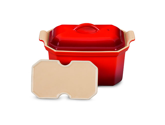 Le Creuset Stoneware 0.75-quart Cherry Red Heritage Pate Terrine with Press
