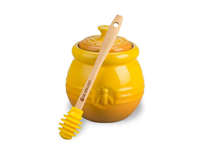 Le Creuset Stoneware 16oz Honey Pot with Silicone Honey Dipper