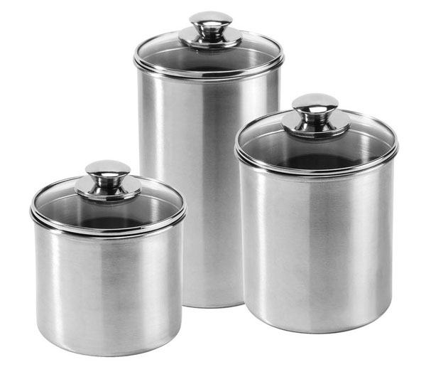 amco stainless steel canister set, 3 piece | cutlery and more