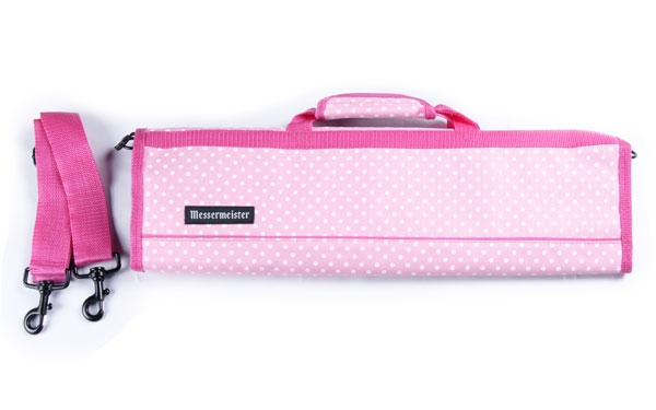Messermeister 8 Pocket Pink Dots Deluxe Print Padded Knife Roll