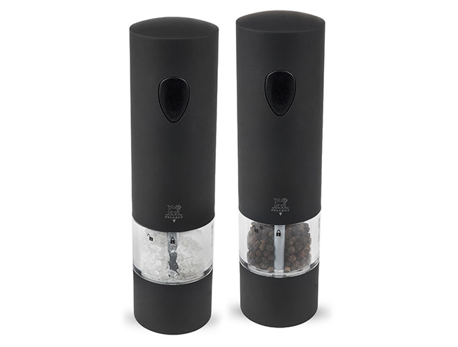 Peugeot Onyx Black 8-inch Soft Touch Electric Salt & Pepper Mill Set