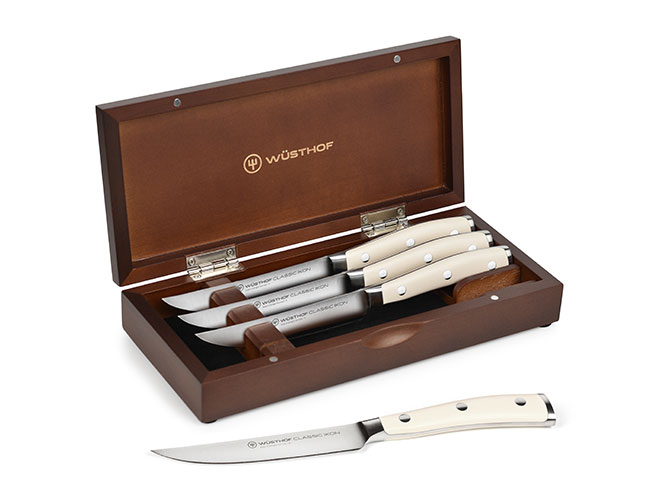 Wusthof Classic Ikon Creme Steak Knife Sets with Walnut Case