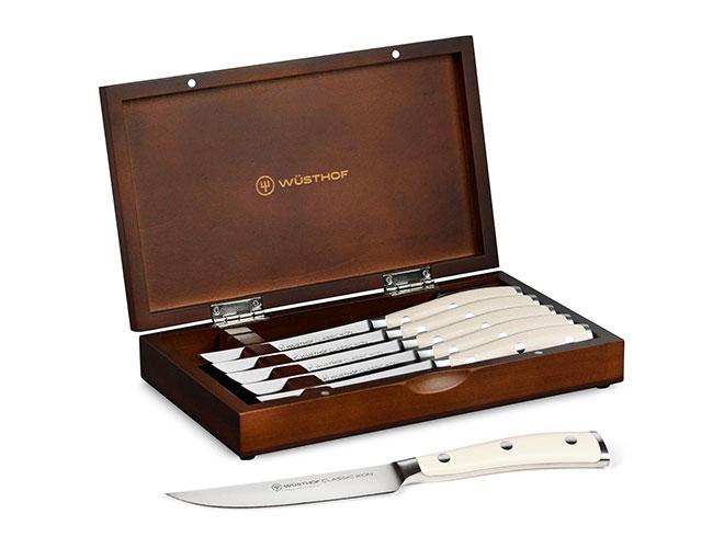 Wusthof Classic Ikon Creme 6 Piece Steak Knife Set with Wood Case