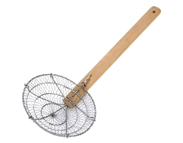 """MIU 6"""" Stainless Steel Spider Skimmer with Bamboo Handle"""