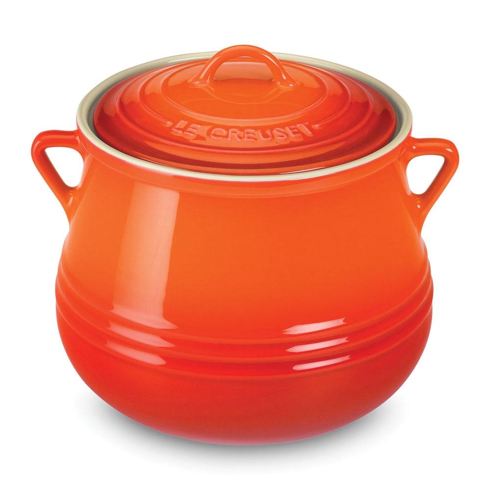 Le Creuset Stoneware Heritage Bean Pot 4 5 Quart Flame