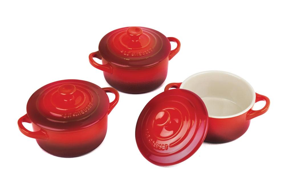 Le Creuset Stoneware 3 Piece Cherry Red Mini Cocotte Set