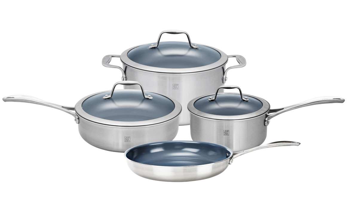 Zwilling J.A. Henckels Spirit 7 Piece Stainless Steel Ceramic Nonstick Cookware Set