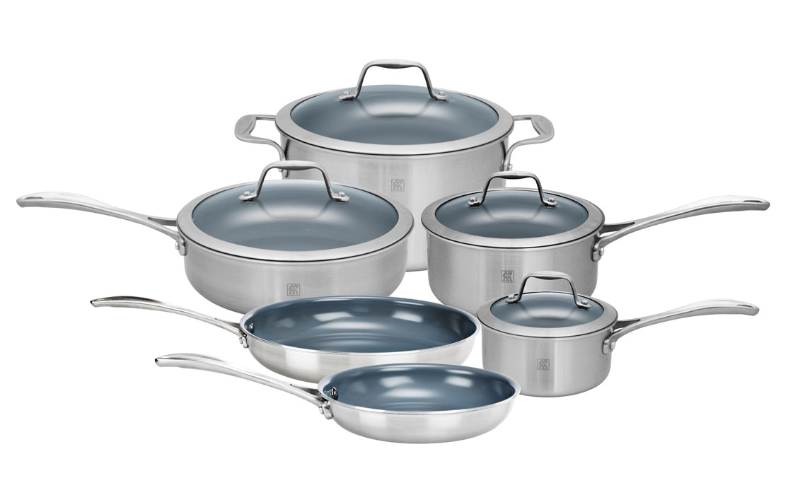 Zwilling J.A. Henckels Spirit 10 Piece Stainless Steel Ceramic Nonstick Cookware Set