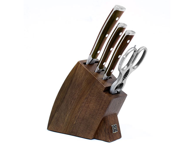 Wusthof Ikon Blackwood 5 Piece Walnut Studio Knife Block Set