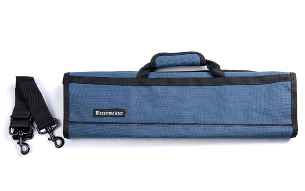Messermeister 8 Pocket Black & Blue Deluxe Print Padded Knife Roll