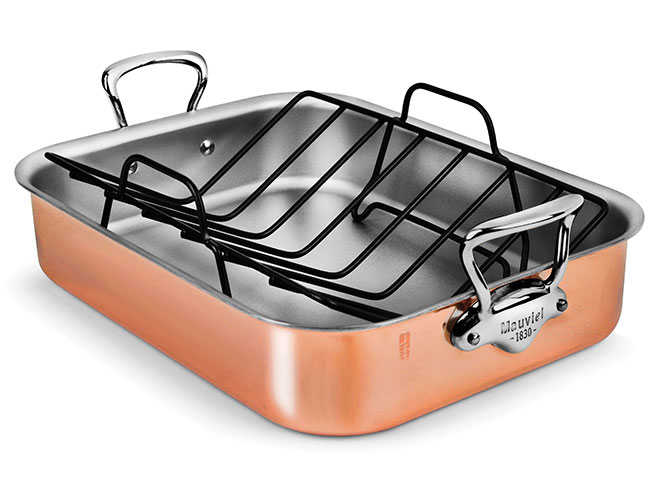 "Mauviel 16x12"" Copper Roasting Pan with Stainless Steel Handles"