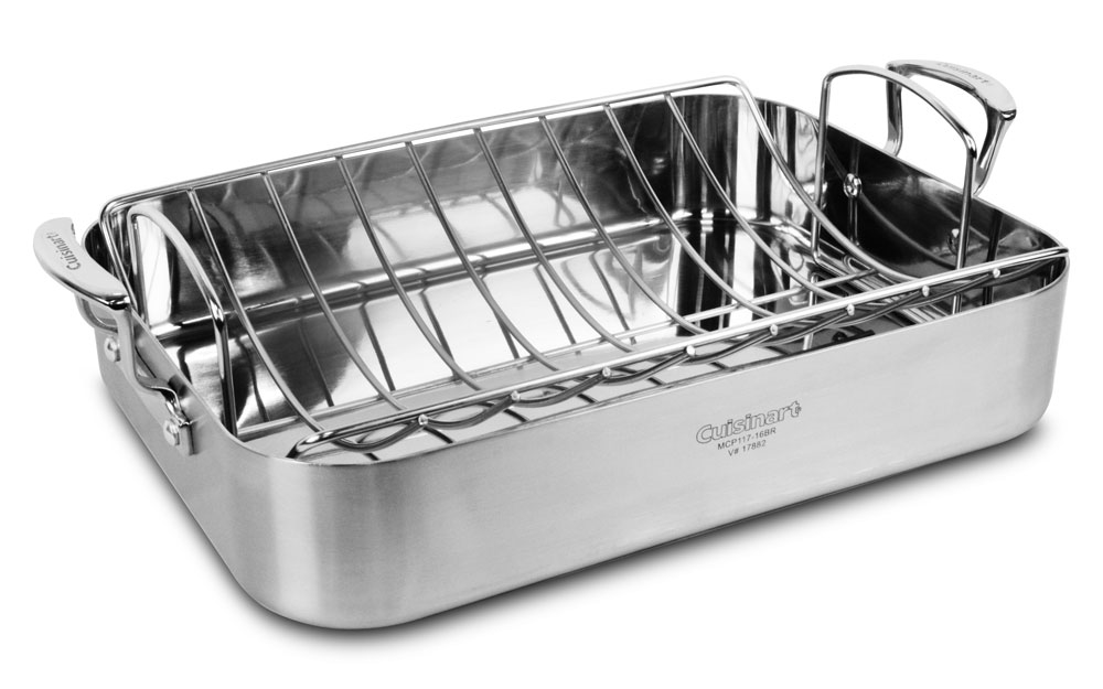 cuisinart multiclad pro stainless steel roasting pan with rack 16x13 cutlery and more. Black Bedroom Furniture Sets. Home Design Ideas