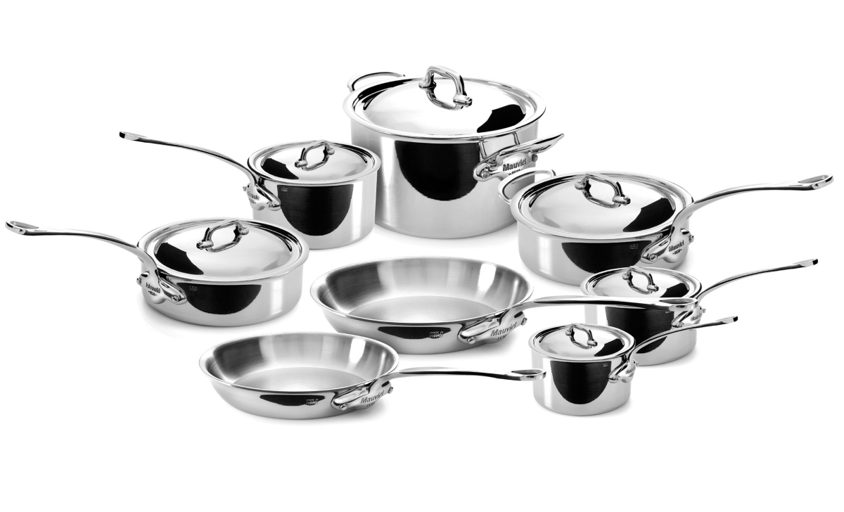 Mauviel M Cook Stainless Steel Cookware Set 14 Piece