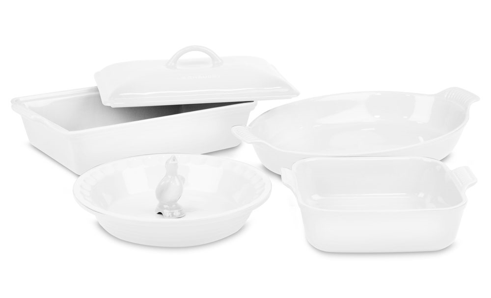 Le Creuset Stoneware 6 Piece White Heritage Bakeware Set