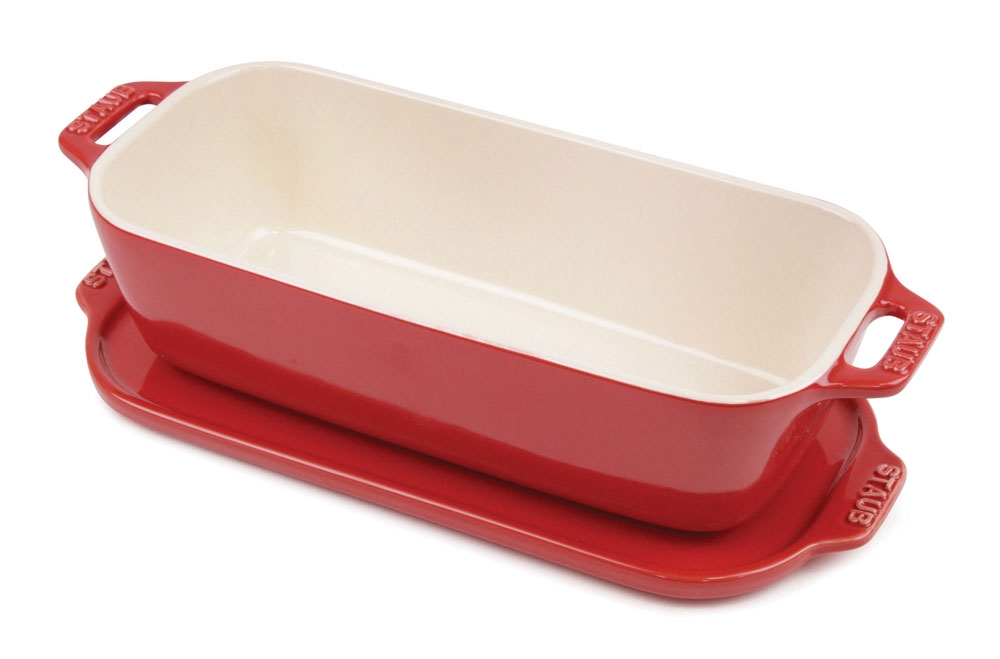 "Staub Ceramic 10x4.5"" Cherry Red Terrine"