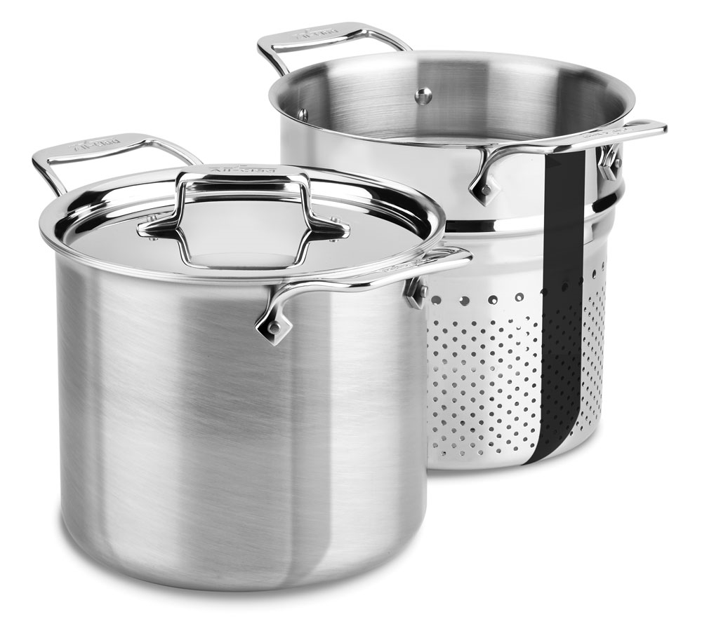 All Clad D5 Brushed Stainless Pasta Pentola Stock Pot With