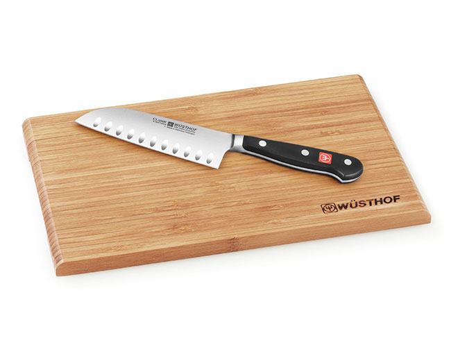 "Wusthof Classic 5"" Hollow Edge Santoku Knife with Board"