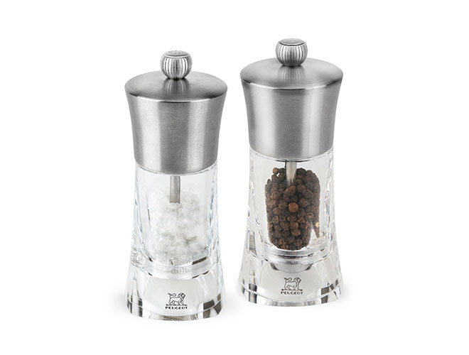 """Peugeot Ouessant 5.5"""" Stainless Steel & Acrylic Salt & Pepper Mill Set"""