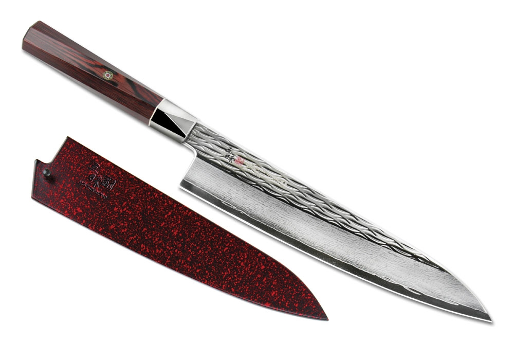 Mcusta Zanmai Ripple Damascus Chef's Knife with Saya