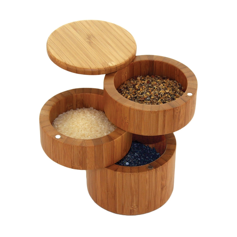 Totally Bamboo 3 Tier Bamboo Salt Box