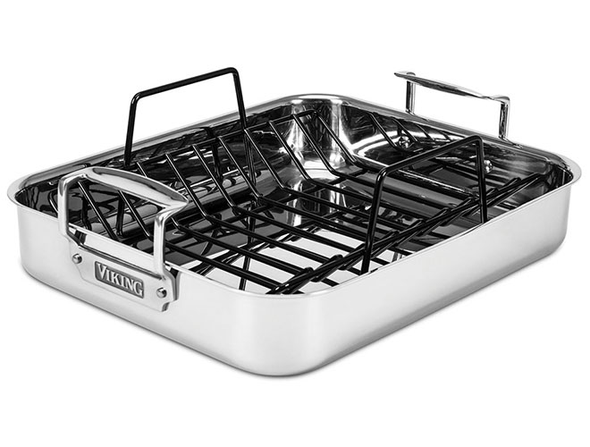 "Viking 16x13x3"" Tri-Ply Stainless Steel Roasting Pan with Rack"