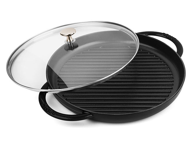 "Staub 12"" Matte Black Steam Grill with Glass Lid"