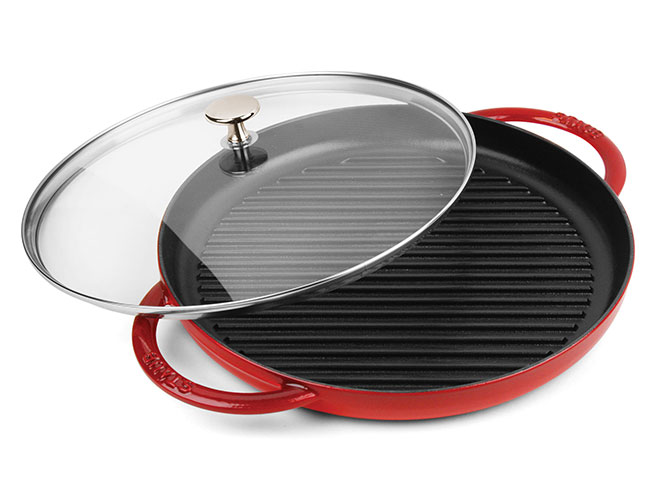 "Staub 12"" Cherry Red Steam Grill with Glass Lid"
