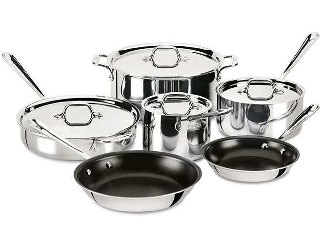 All-Clad d3 Stainless 10 Piece Nonstick Cookware Set