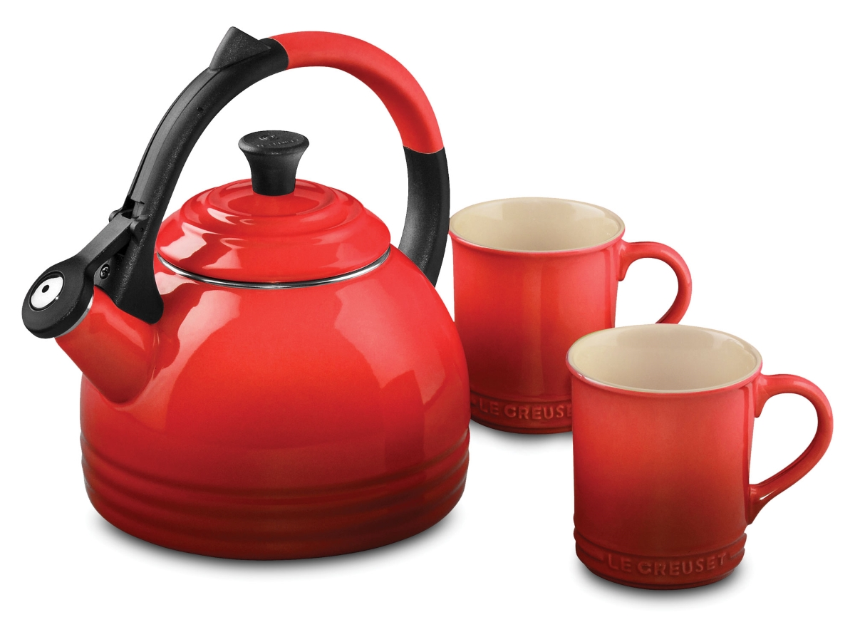 Le Creuset Enameled Steel Peruh Tea Kettle And Mug Set 1