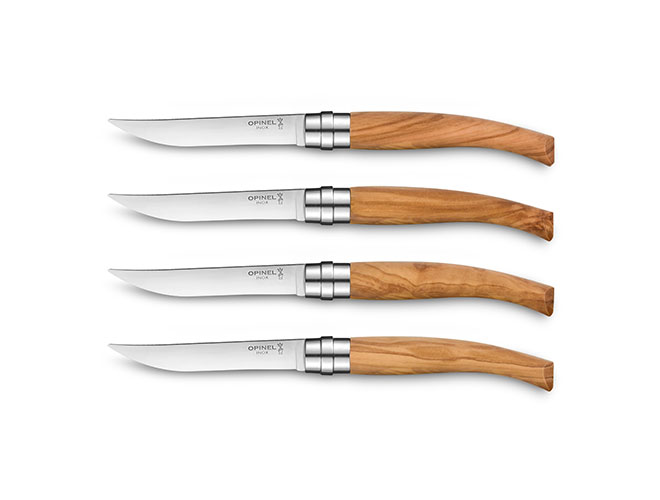 Opinel 4 Piece Stainless Steel Steak Knife Set with Wood Handles