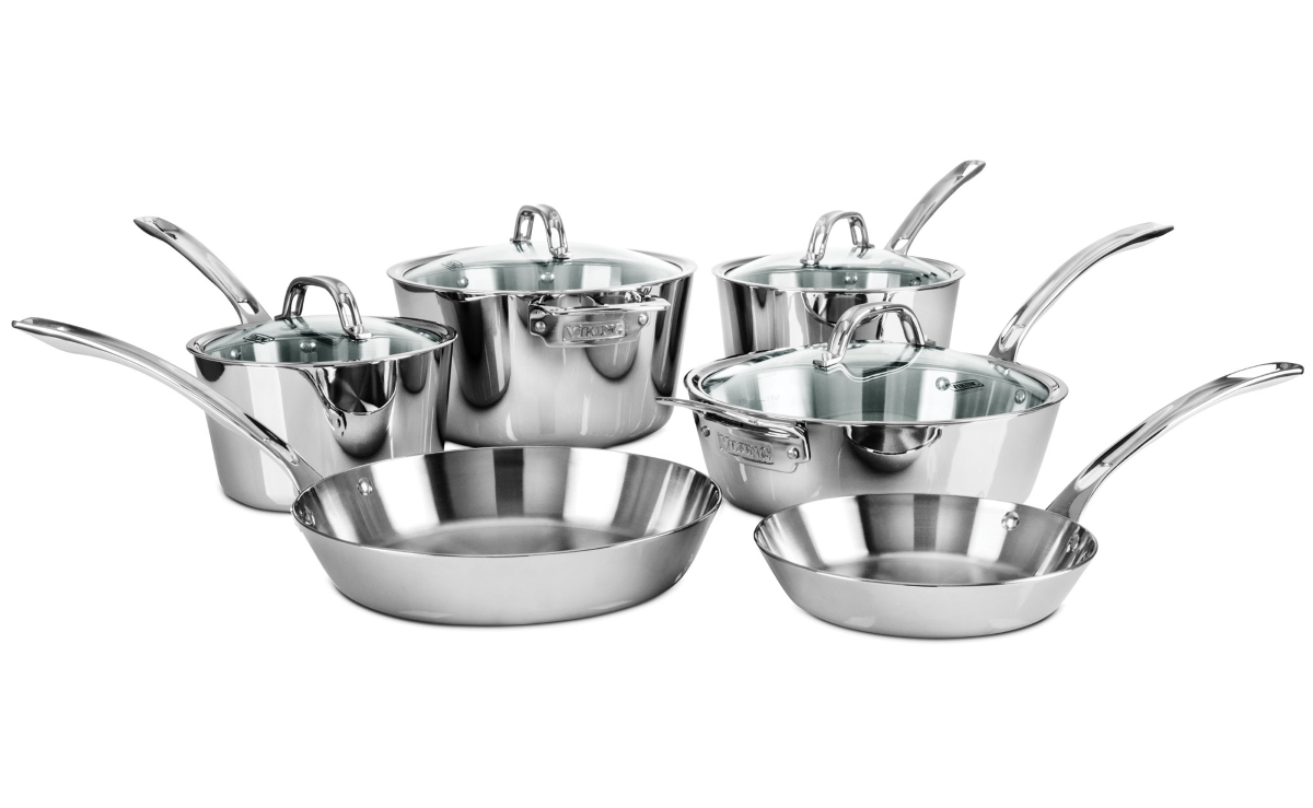Viking 10 Piece Contemporary Tri-Ply Stainless Steel Cookware Set