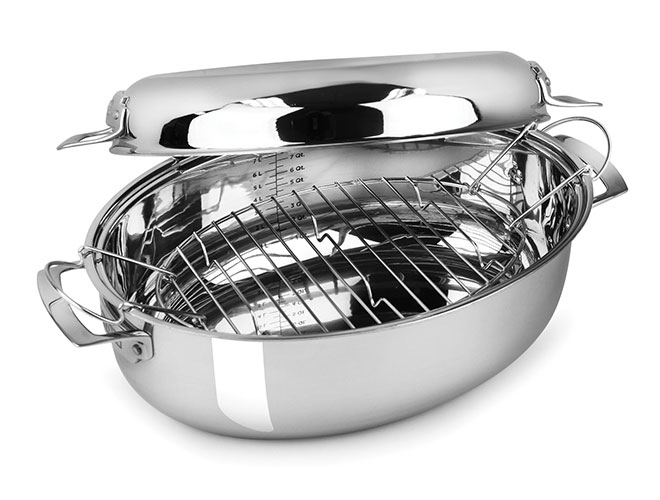 Viking 8.5-quart Tri-Ply Oval Multi Roaster with Induction Lid & Rack