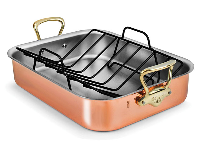 "Mauviel 16x12"" Copper Roasting Pan with Bronze Handles"