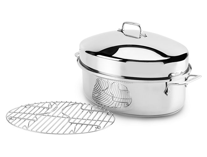"All-Clad 15x11"" Stainless Steel Covered Oval Roaster"