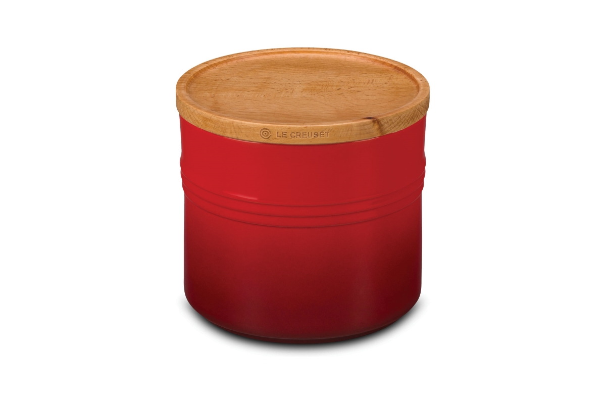 Le Creuset Stoneware Cherry Red 1.5-quart Canister with Wood Lid