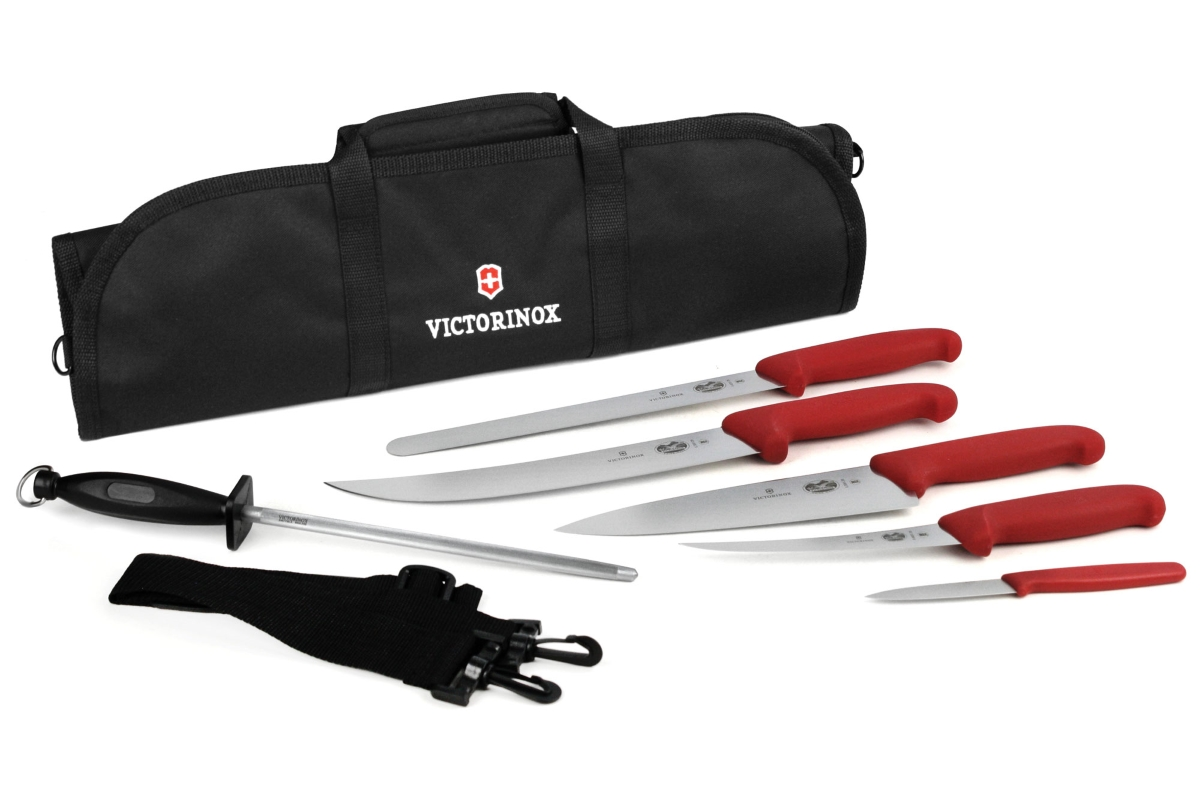 Victorinox Fibrox 7 Piece BBQ Knife Roll Set